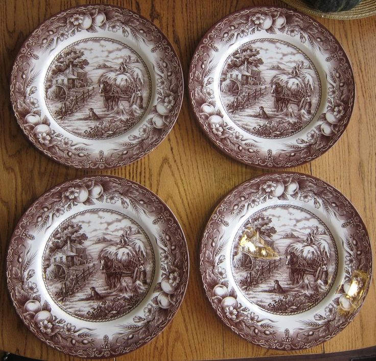 Set of 4 Royal Stafford Brown Dinner Plates England Hayride Horse Wagon Dog #RoyalStafford