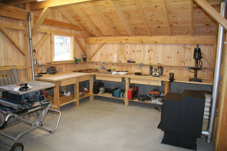 Workshop Interior | Wood Stove | Work Counter Space ...