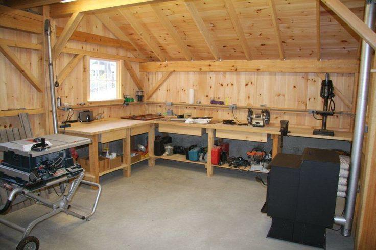 Workshop interior wood stove work counter space for Interior design workshop