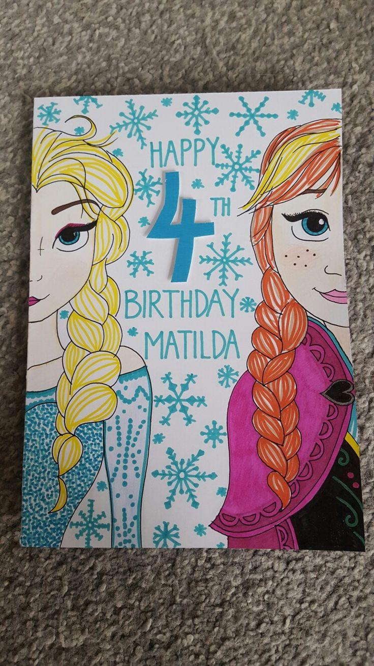 Hand drawn frozen birthday card