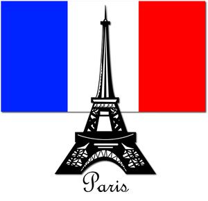 Clip art illustration of a silhouette of the Eiffel Tower in Paris on a flag of France background. Description from acclaimimages.com. I searched for this on bing.com/images