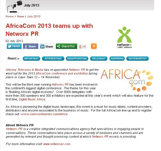 #AfricaCOm 2013 teams up with #NetworxPR #marketing site