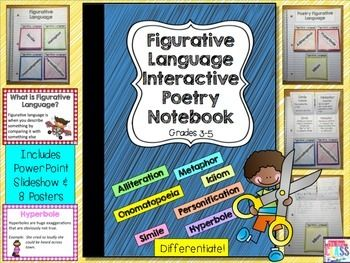 25 pages of no-prep interactive notebook figurative language set + definitions & journal cover. Alliteration  Hyperbole  Idiom  Metaphor   Onomatopoeia  Personification  Simile