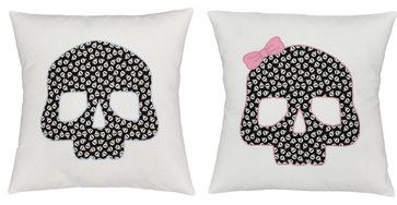 Skulls Throw Pillow Covers 16x16 White Glow-In-Dark Shams - contemporary - Pillowcases And Shams - oBedding