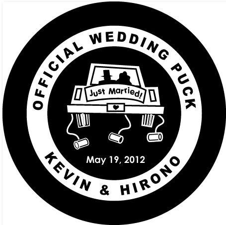 To go with our hockey themed wedding, we decided to give away custom wedding pucks as a favor! Kevin found this online shop called Official Game Puck (OGP) in Canada that makes amazing custom pucks…