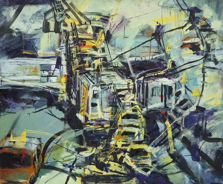 'Traffic' by Diana Dragoman Oil on canvas; 70 x 50 cm; Abstract painting; 2014.  Diana is a student of University of Art and Design Cluj-Napoca, Romania.  See more of Diana's art http://www.studentartworks.org/author/diana-dragonam/ .  www.studentartworks.org