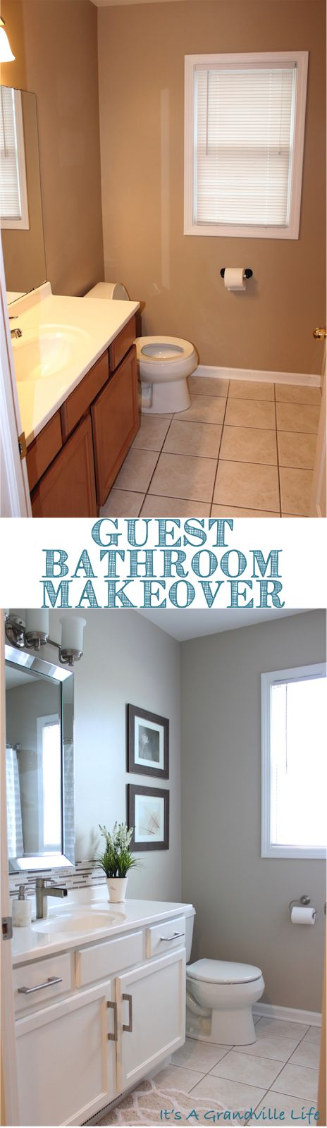 Easily Transform Your Bathroom With Some Paint And New Hardware See The Transformation And Diy
