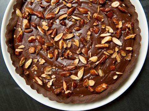 Chocolate-Coffee Tart with Almonds and Caramel Hard Sauce | Recipe
