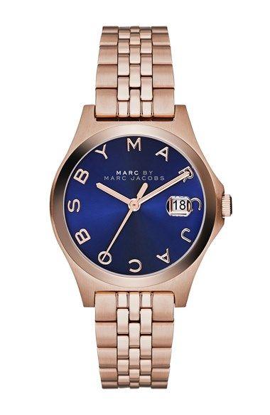 MARC by Marc Jacobs 'The Slim' Bracelet Watch, 30mm Rose Gold/ Skipper Blue