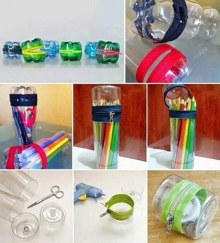 Botellas plasticas transformadas en estuches para lápices