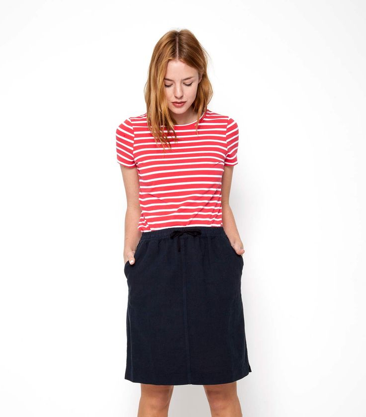 Womens Jersey Crew Neck Short Sleeve Tee in Coral-white / Style Code: J01L and Linen and Cotton Skirt in Navy / Style Code: W04L