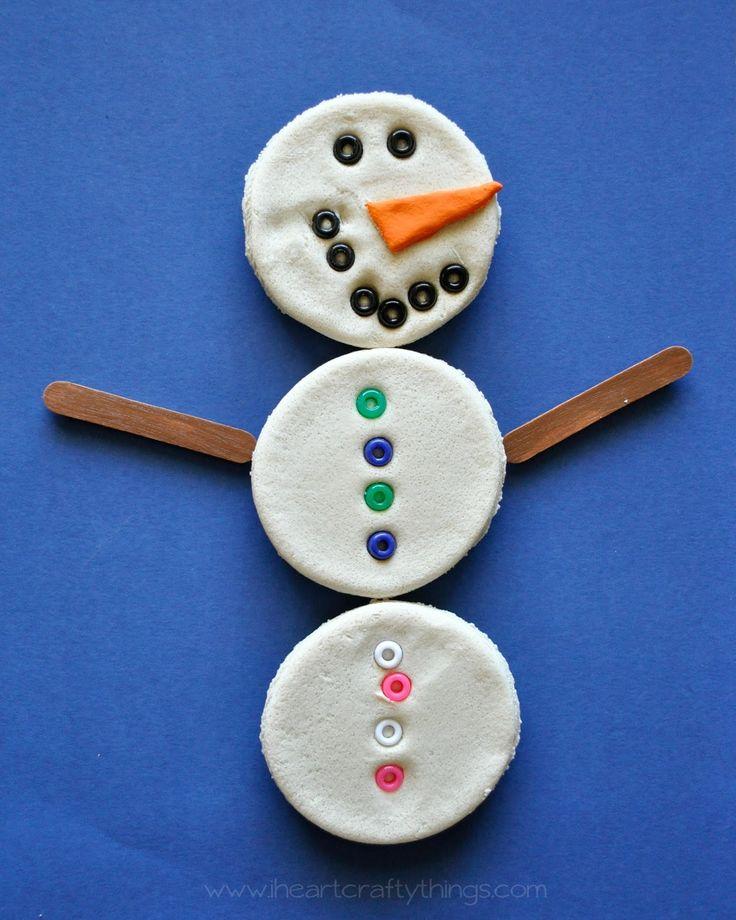 Snowman salt dough magnets salt dough snowman and magnets for Salt dough crafts figures