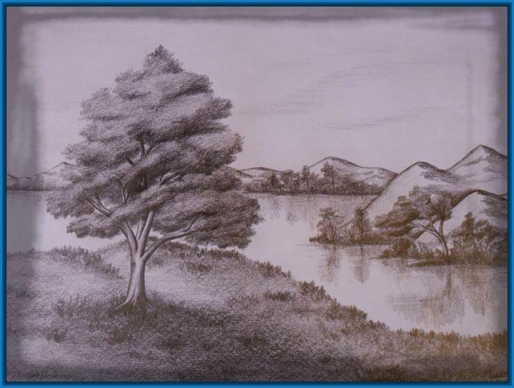 Bildergebnis für dibujos a carboncillo de paisajes