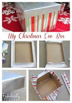 my christmas eve box..fill with PJ'S for all the kids or make individual boxes...plus popcorn mix..stuffed animals...cookies..hot cocoa..and coffee mixes ...the list is endless...yep, need a bigger box....