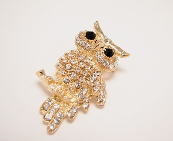 $18 Owl Brooch https://www.etsy.com/listing/228656866/gold-owl-brooch-crystal-broach-brooches