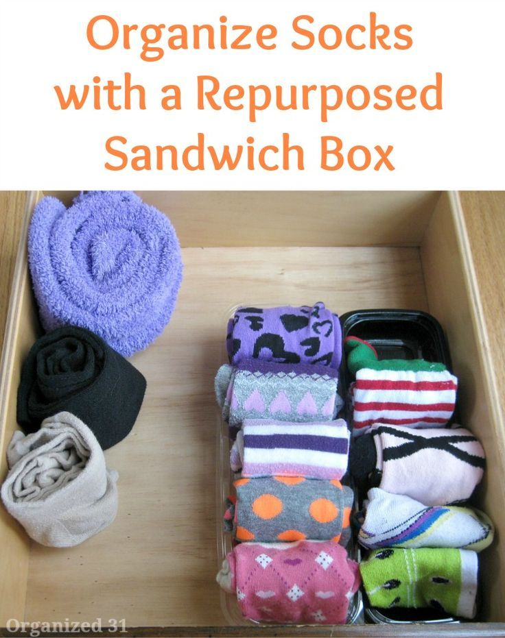 Organize Socks with a Repurposed Sandwich Box - Organized 31  A frugal clothes organization tip that's quick and easy to implement.