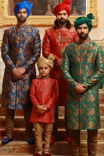 Blue,Red,Green & Gold Brocade Wedding Sherwani-SH323