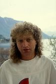"""Foreigner - vocalist Lou Gramm photographed to promote his solo album """"Ready Or Not"""" at the Rose D'Or Festival in Montreux Switzerland - 15 May 1987.  Photo credit: George Chin/IconicPix"""