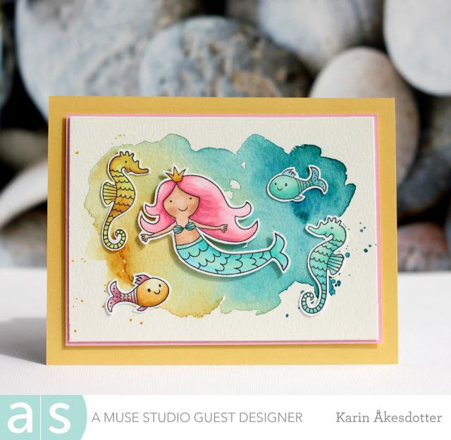 Guest Designer for Amuse Studio: Colorful Mermaid For more info: I share my creative projects here: https://www.instagram.com/peppermintpatty42/ and on my blog: http://peppermintpattys-papercraft.blogspot.se and on pinterest; https://www.pinterest.se/peppermint42/my-watercolors/