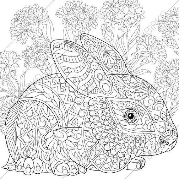 Easter Bunny. Adult Coloring Page. Zentangle Doodle Coloring