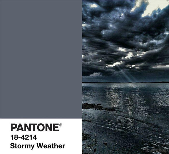 Глубокий, насыщенный, будоражащий и следующий в палитре осенне-зимней палитры 2015/16 цвет во время шторма, Pantone назвал его Stormy Weather.