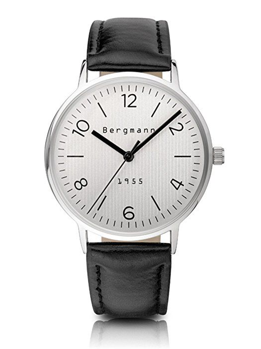 Bergmann Casual Style Men's Watch Leather Strap Silver Dial Silver Case Large 1955