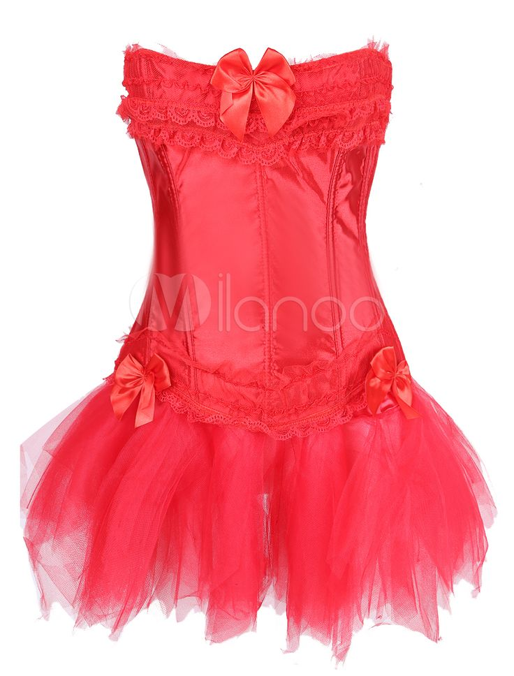 Red Sexy Imitated Silk Corset With Tulle Skirt - Milanoo.com