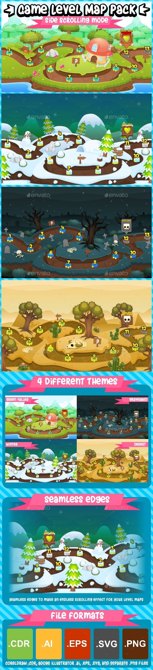 Game Level Map Pack - Side Scrolling - Backgrounds Game Assets