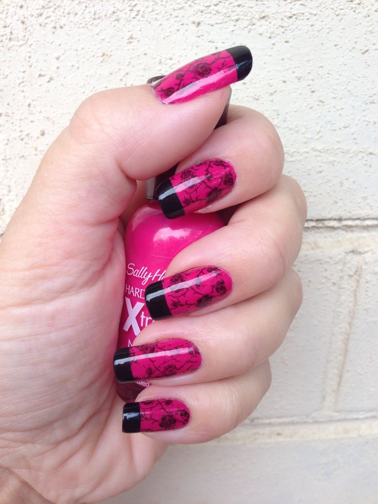 Hot pink with black stamping and tips mani