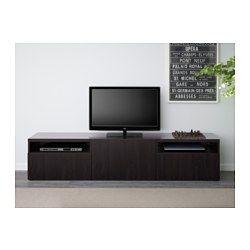 IKEA - BESTÅ, Mueble TV, riel p/cajón+apetura presión, Lappviken negro-marrón, , Los cajones y la puerta tienen apertura a presión y no es necesario colocar pomos o tiradores: basta una simple presión.Es fácil tener  los cables del TV y otros dispositivos ocultos pero a mano, gracias a las aberturas de la parte de atrás del mueble de TV.La abertura de la parte superior permite pasar los cables incluso si el mueble de TV está montado a la pared.Dos grandes cajones permiten guardar los mandos…