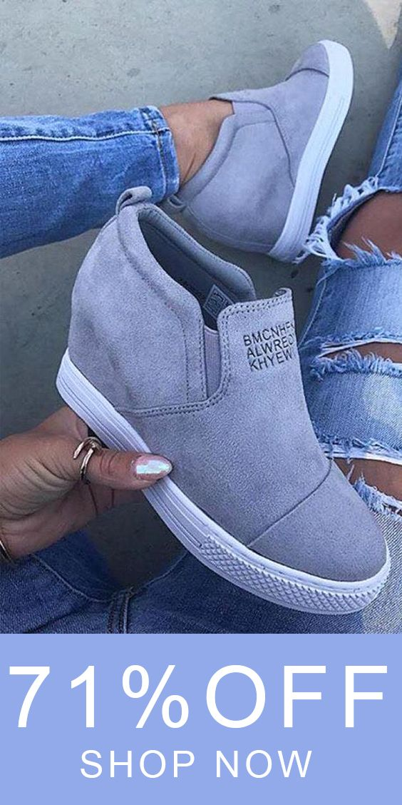 7aab223c244 Fashion Letter Slip On Wedge Sneakers Faux Suede Wedge Heel Casual Sneakers  Boots.