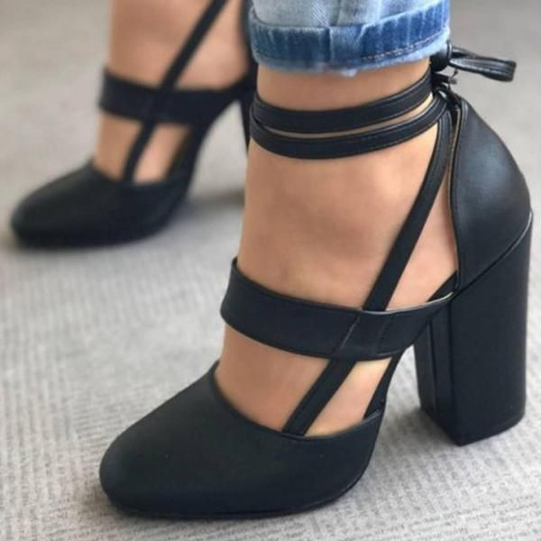 Savannah Strappy Leather Block Heel Women's Shoe 5 Colors