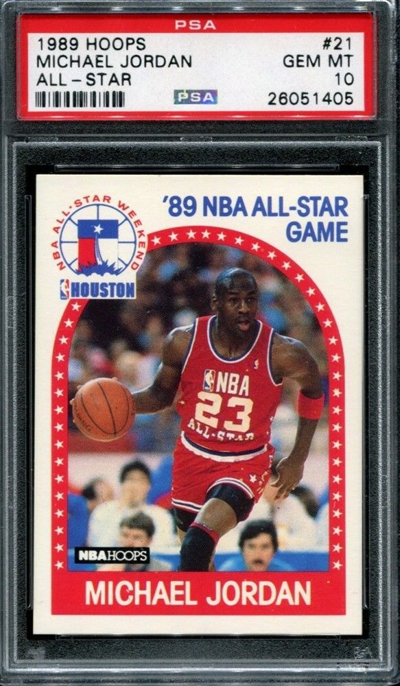 3999db45cd1 MICHAEL JORDAN 1989 NBA HOOPS BASKETBALL   21 ALL STAR CHICAGO BULLS PSA 10   PSA10