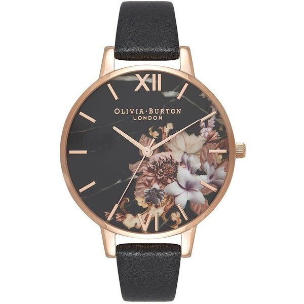 Marble Floral Black and Rose Gold Watch by Olivia Burton (180 BAM) ❤ liked on Polyvore featuring jewelry, watches, black, red gold watches, rose gold wrist watch, marble jewelry, olivia burton jewellery and floral watches
