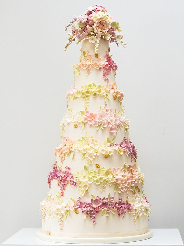 Floral wedding cake by Rosalind Miller Cakes ~ Beautifully Decorated and Delicious Award Winning Wedding Cakes