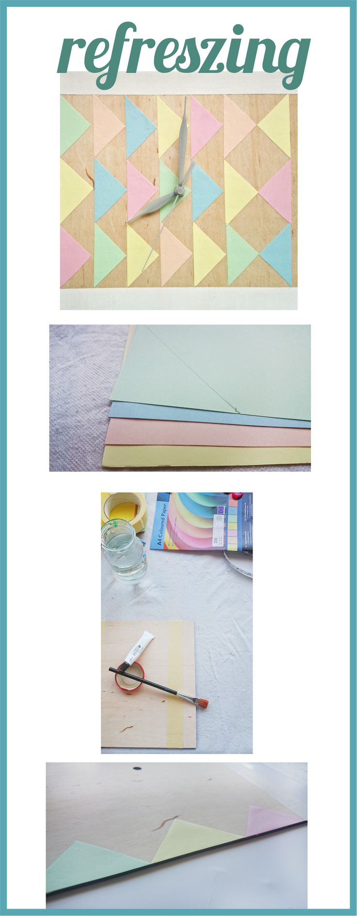 DIY clock pastel colorous. Sweet and easy.