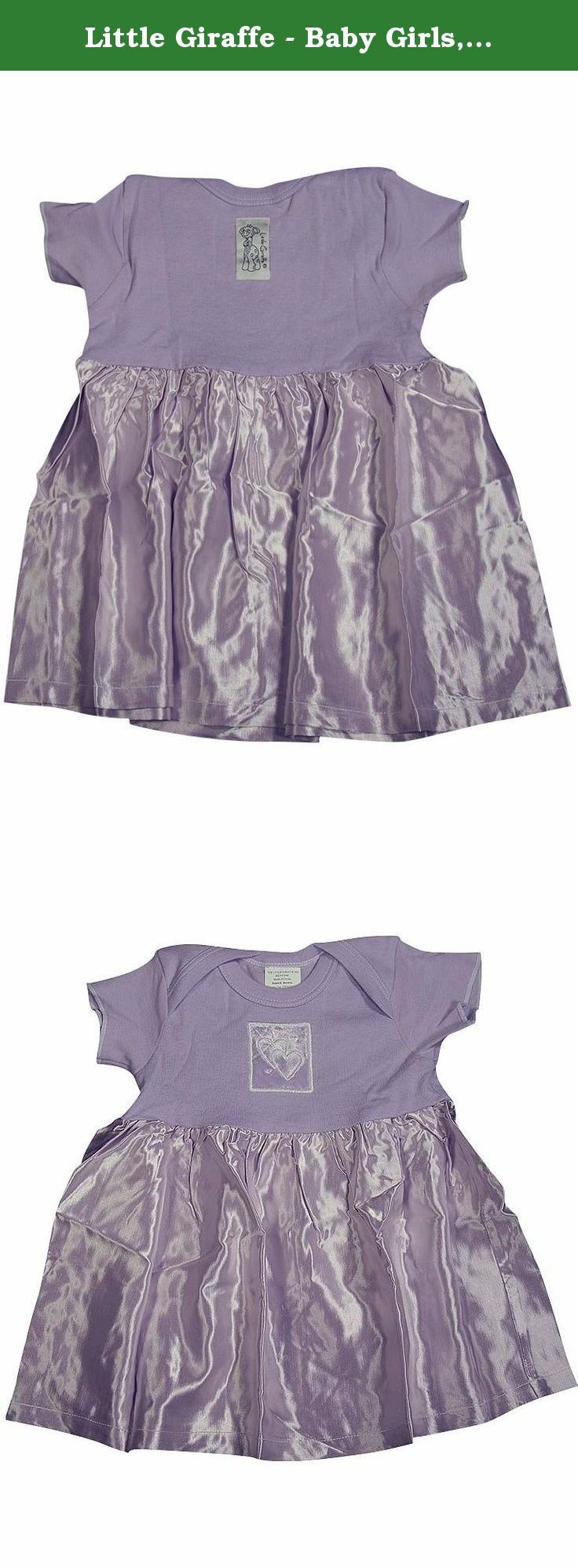 Little Giraffe - Baby Girls, Short Sleeved Dress, Lilac 4052-6Months. Little Giraffe - Newborn Baby Girls, Short Sleeved Dress, Lilac with Hearts Embroidered Velvet Patch, and Satin Skirt, Jersey Top 100% Cotton, Satin Skirt 52% Acetate, 48% Rayon, Made In China, #4052.