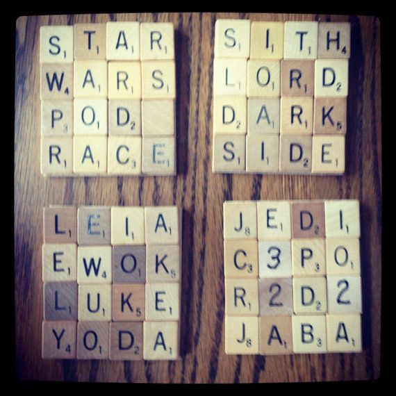 Made to Order SCRABBLE Coasters, Unique Personalized Gift for tv show or movie lovers via CelebratingTheMoment @ etsy #starwars #startrek #duckdynasty
