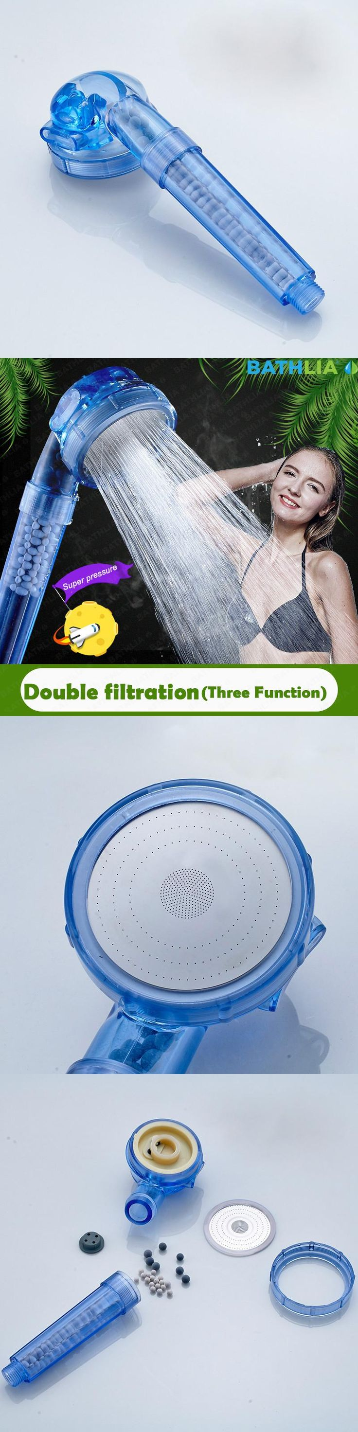 Pressure Boost Shower Nozzle ABS Plastic Water Saving Handheld Shower Head With Three Function Bathroom Showerhead