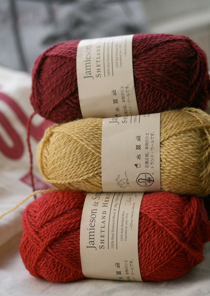 """Jamieson & Smith Shetland Heritage yarn - a worsted spun yarn modeled after the yarns used in pre-1940's traditional Fair Isle garments. Pic from """"needled"""" Kate Davies' blog."""