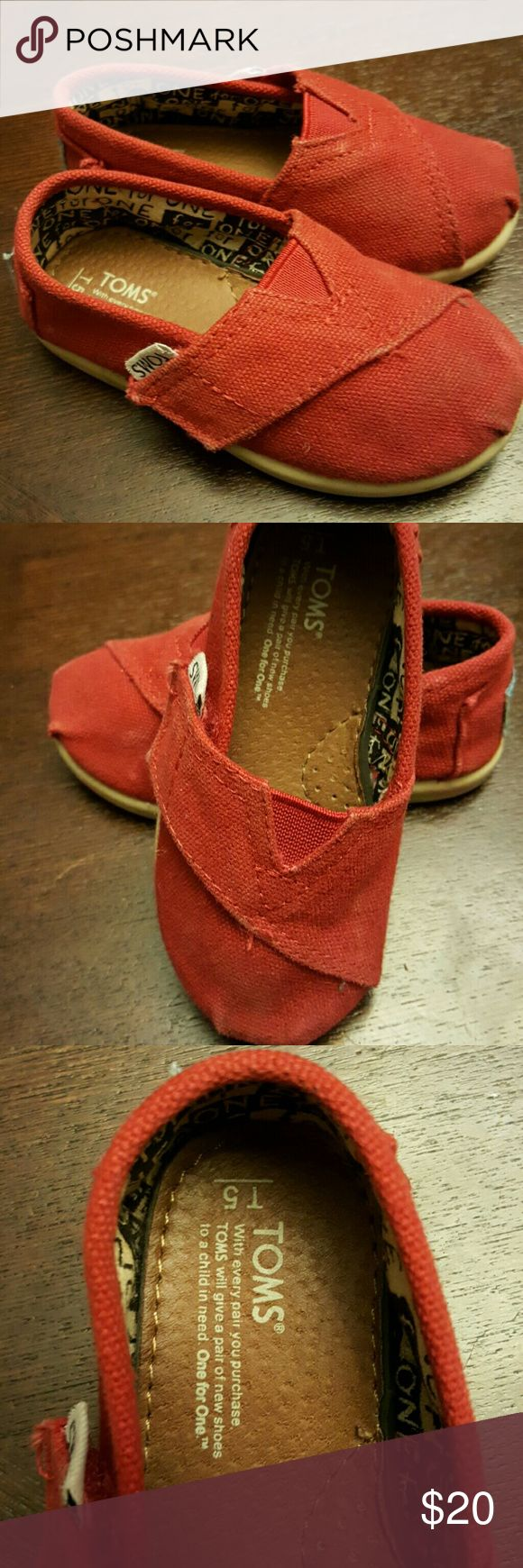 Toms toddler red shoes Toms toddler red shoes, size 5. Worn a few times,  no visible tears or holes.  Make an offer...thanks for stopping in! TOMS Shoes Sneakers