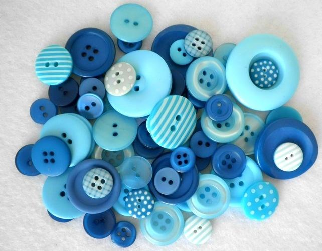 50g Aqua Blue, Spots and Stripes Button Mix - Folksy