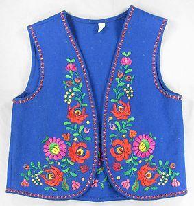Vintage Hungarian Matyo Folk Blue Children Vest Handmade Embroidered Floral Felt