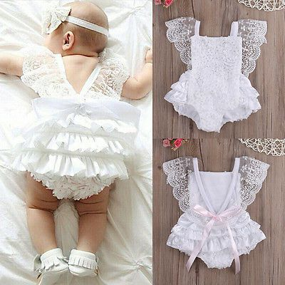 Infant Baby Girl Clothes Lace Floral Bodysuit Romper Cake Sunsuit Outfits 0-18M $7.88
