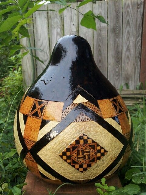 Roasted Rhombus #gourd bowl. #pyrography #art #woodburning #gourdart