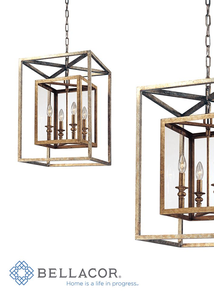 The Morgan pendant by Troy Lighting melds box-within-a-box geometric sensibility with high-level traditional and contemporary design. Clear glassware encloses beautiful candelabras set in an interior hand-worked wrought-iron frame, while an additional larger frame adds to the visual depth and texture of the overall fixture. http://www.bellacor.com/productdetail/troy-f9994gsl-morgan-four-light-lantern-pendant-125234.htm?partid=social_pinterestad_125234