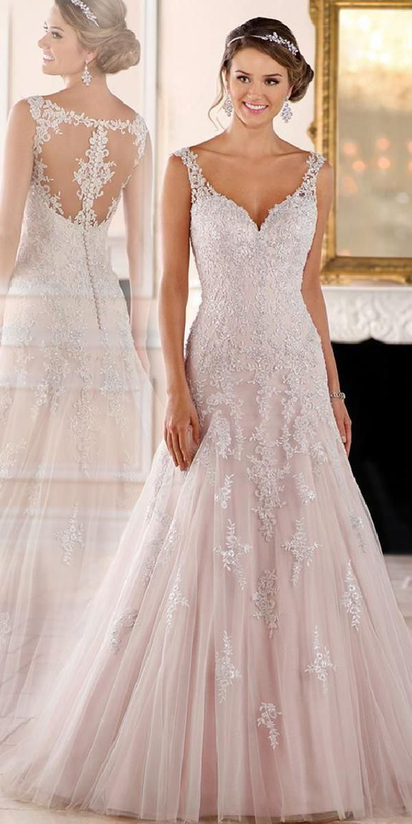 Elegant Tulle V-neck Neckline A-line Wedding Dresses With Beaded Lace Appliques …