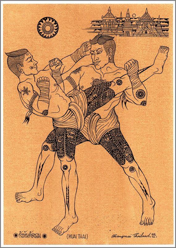 Arte tailandese tradizionale di Thai boxe stampando su carta
