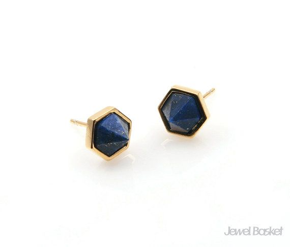 Lapis Earrings will be perfect for your hand making accessories. This listing is for two pieces of Lapis stone Earrings. They are made with gemstone and frame is made of brass. It is 16k gold plating.  - Shiny Gold Frame (Tarnish Resistant) - Lapis Stone - Brass and Glass / 8.5mm x 6.2mm (not including post size) - 92.5 Silver Ear post - 2pcs / 1pack