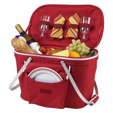 Collapsible Insulated Picnic Basket Set for 2 - Coolers at Hayneedle #this isarealpicnicbasket